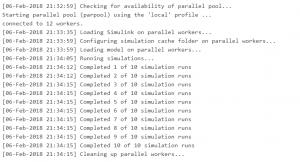 Результат параллельного моделирования Simulink